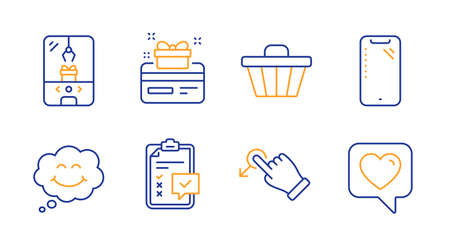 Drag drop, Loyalty card and Checklist line icons set. Smile, Crane claw machine and Shop cart signs. Smartphone, Heart symbols. Move, Bonus points. Technology set. Line drag drop icon. Vector Çizim