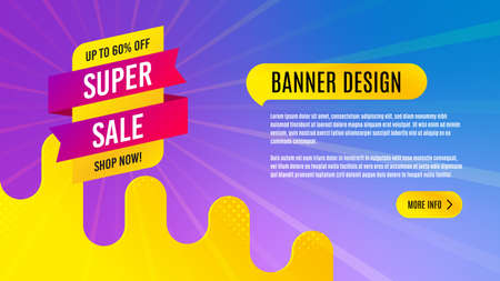 Super sale badge. Discount banner shape. Coupon tag icon. Abstract background design. Banner with offer badge. Vector Illusztráció