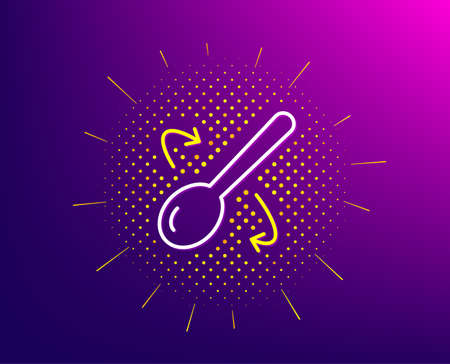 Cooking spoon line icon. Halftone pattern. Cutlery sign. Food mix symbol. Gradient background. Cooking spoon line icon. Yellow halftone pattern. Vector