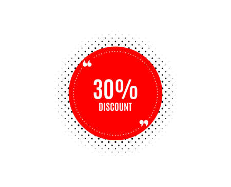 30% Discount. Banner badge, offer sticker. Sale offer price sign. Special offer symbol. Discount banner. Sticker badge. Vector