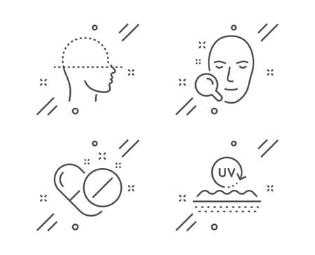 Face search, Medical pills and Face scanning line icons set. Uv protection sign. Find user, Drugs, Faces detection. Skin cream. Healthcare set. Line face search outline icon. Vector