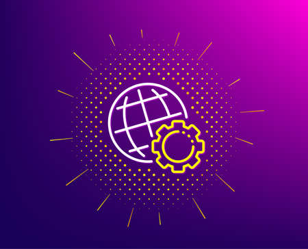 Globe line icon. Halftone pattern. World or Earth sign. Global Internet symbol. Gradient background. Globe line icon. Yellow halftone pattern. Vector