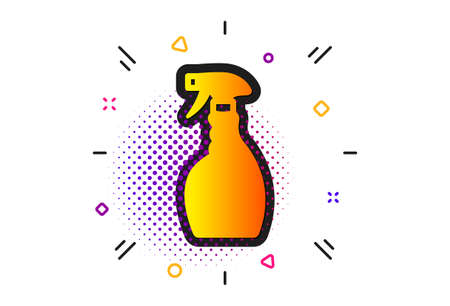 Washing liquid or Cleanser symbol. Halftone circles pattern. Cleaning spray icon. Housekeeping equipment sign. Classic flat spray icon. Vector