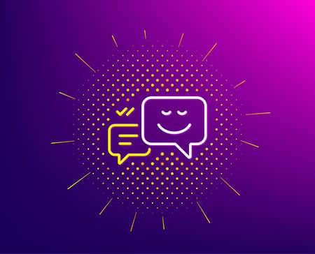 Message speech bubbles with Smile line icon. Halftone pattern. Chat emotion sign. Gradient background. Happy emotion line icon. Yellow halftone pattern. Vector Ilustração