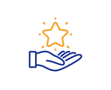 Bonus points. Loyalty program line icon. Discount star symbol. Colorful outline concept. Blue and orange thin line loyalty program icon. Vector
