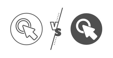 Push the button sign. Versus concept. Click here line icon. Web cursor symbol. Line vs classic click here icon. Vector