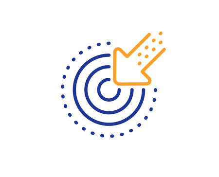 Result arrow sign. Targeting line icon. Traffic management symbol. Colorful outline concept. Blue and orange thin line targeting icon. Vector Illustration