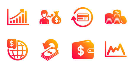 Refund commission, Sallary and Banking money line icons set. Dollar wallet, Cashback and Graph chart signs. World money, Diagram symbols. Cashback card, Person earnings. Finance set. Vector