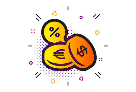 Banking currency sign. Halftone circles pattern. Coins money icon. Euro and Dollar Cash symbols. Cashback service. Classic flat currency exchange icon. Vector Foto de archivo - 130389794
