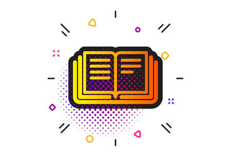 Education symbol. Halftone circles pattern. Book icon. Instruction or E-learning sign. Classic flat education icon. Vector