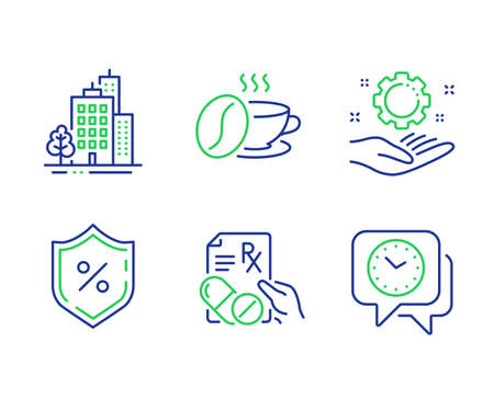 Buildings, Coffee cup and Prescription drugs line icons set. Loan percent, Employee hand and Clock signs. City architecture, Roasted bean, Pills. Protection shield. Business set. Vector