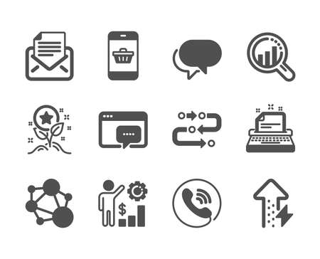 Set of Technology icons, such as Smartphone buying, Loyalty points, Integrity, Methodology, Talk bubble, Seo analysis, Typewriter, Call center, Energy growing, Mail correspondence. Vector 일러스트