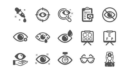 Optometry, Eye doctor icons. Medical laser surgery, glasses and eyedropper. Pink eye, Cataract surgery and allergy icons. Optician board, oculist chart. Classic set. Quality set. Vector Ilustracja