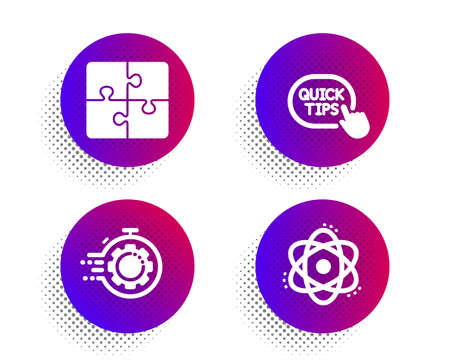 Puzzle, Seo timer and Quick tips icons simple set. Halftone dots button. Atom sign. Engineering strategy, Cogwheel, Helpful tricks. Electron. Science set. Classic flat puzzle icon. Vector 일러스트