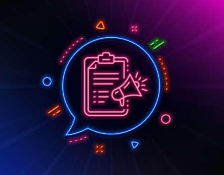 Megaphone checklist line icon. Neon laser lights. Advertisement device symbol. Brand ambassador sign. Glow laser speech bubble. Neon lights chat bubble. Vector