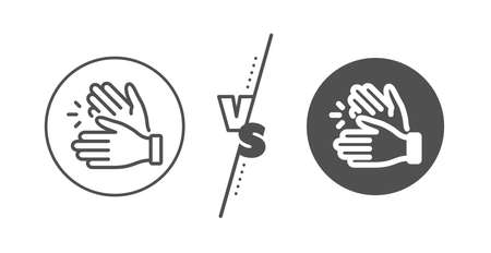 Clap sign. Versus concept. Clapping hands line icon. Victory gesture symbol. Line vs classic clapping hands icon. Vector Illustration