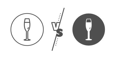 Wine glass sign. Versus concept. Champagne glass line icon. Line vs classic champagne glass icon. Vector
