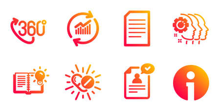 360 degree, Employees teamwork and Update data line icons set. Document, Product knowledge and Medical drugs signs. Resume document, Info symbols. Virtual reality, Collaboration. Vector