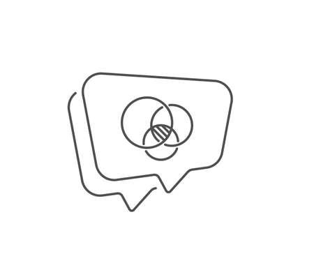 Euler diagram line icon. Chat bubble design. Eulerian circles sign. Relationships chart symbol. Outline concept. Thin line euler diagram icon. Vector