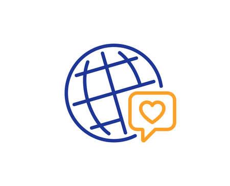 Friendship love sign. Friends world line icon. World brand ambassador symbol. Colorful outline concept. Blue and orange thin line world brand icon. Vector