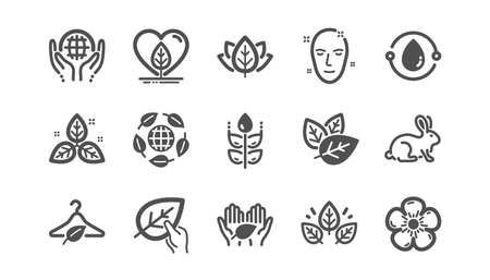 Organic cosmetics icons. Slow fashion, synthetic fragrance, fair trade. Sustainable textiles, animal testing, eco organic icons. Classic set. Quality set. Vector Standard-Bild - 130389942