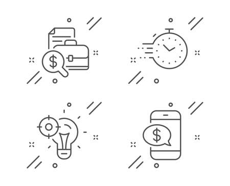 Accounting report, Timer and Seo idea line icons set. Phone payment sign. Financial case, Deadline management, Performance. Mobile pay. Technology set. Line accounting report outline icon. Vector 일러스트