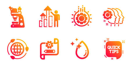 Gear, Water drop and Employees teamwork line icons set. Cogwheel blueprint, Eco energy and Employee results signs. Microscope, Quick tips symbols. Work process, Crystal aqua. Science set. Vector
