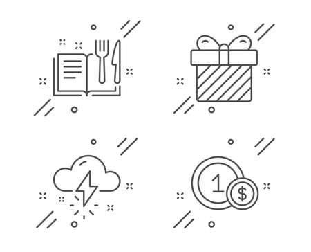 Surprise, Recipe book and Thunderstorm weather line icons set. Usd coins sign. Present with bow, Food, Thunder bolt. Cash payment. Business set. Line surprise outline icon. Vector