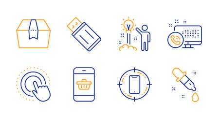 Smartphone target, Creative idea and Smartphone buying line icons set. Package box, Usb flash and Web call signs. Click hand, Chemistry pipette symbols. Phone, Startup. Technology set. Vector