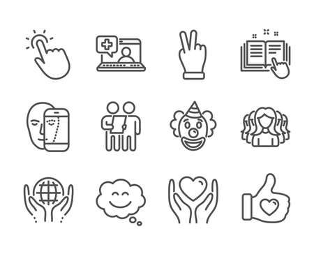 Set of People icons, such as Clown, Victory hand, Like hand, Medical help, Hold heart, Face biometrics, Technical documentation, Organic tested, Smile chat, Touchpoint, Survey, Women group. Vector