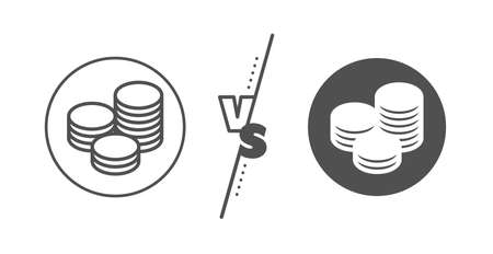 Banking currency sign. Versus concept. Coins money line icon. Cash symbol. Line vs classic tips icon. Vector