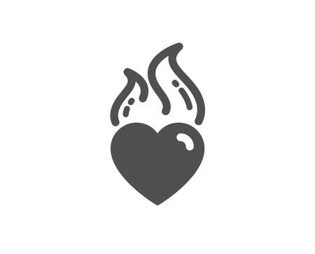 Love fire emotion sign. Heart flame icon. Valentine day symbol. Classic flat style. Simple heart flame icon. Vector