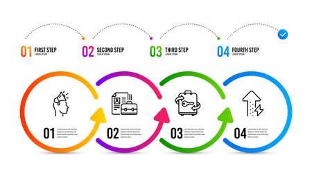 Energy growing sign. Infographics timeline. Brand ambassador, Vacancy and Luggage line icons set. Megaphone, Hiring job, Baggage locker. Power usage. Brand ambassador icon. Timeline diagram. Vector