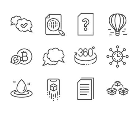 Set of Technology icons, such as Fuel energy, Copy files, 360 degrees, Approved, Refresh bitcoin, Air balloon, Chat message, World time, Parcel shipping, Analytics chart, Unknown file. Vector 일러스트