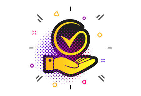 Tick and hand sign icon. Halftone dots pattern. Palm holds check mark symbol. Classic flat tick icon. Vector