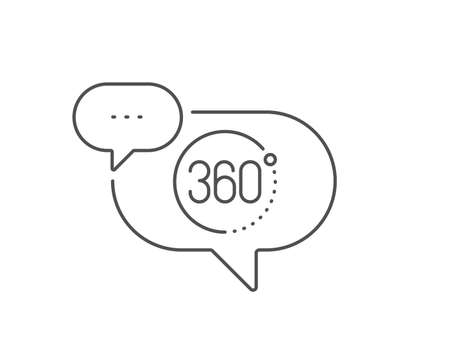 360 degrees line icon. Chat bubble design. VR simulation sign. Panoramic view symbol. Outline concept. Thin line 360 degrees icon. Vector