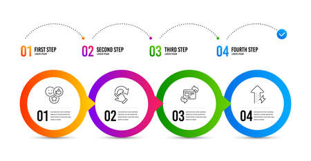 Refresh website, Rotation gesture and Like line icons set. Timeline infographic. Energy growing sign. Update internet, Undo, Social media likes. Power usage. Business set. Refresh website icon. Vector