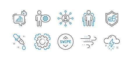 Set of Science icons, such as Group, Windy weather, Medical tablet, Networking, Swipe up, Seo gear, Statistics timer, Cogwheel, Chemistry pipette, Thunderstorm weather line icons. Vector