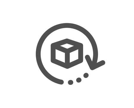 Paketzustellungszeichen. Paketsymbol zurücksenden. Frachtgut-Box-Symbol. Klassischer flacher Stil. Einfaches Symbol für Rücksendungen. Vektor