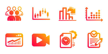 Dot plot, Decreasing graph and Video camera line icons set. Project deadline, Website statistics and Candlestick graph signs. Group, Rfp symbols. Column chart, Movie or cinema. Education set. Vector