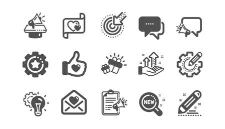 Brand social project icons. Business strategy, Megaphone and Representative. Influence campaign, social media marketing, brand ambassador icons. Classic set. Quality set. Vector