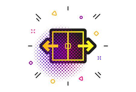 Automatic door sign icon. Halftone dots pattern. Auto open symbol. Classic flat automation icon. Vector Foto de archivo - 130390063