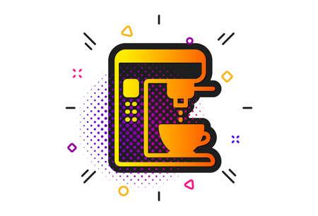 Vending machine sign. Halftone circles pattern. Coffee maker icon. Make tea symbol. Classic flat coffee maker icon. Vector