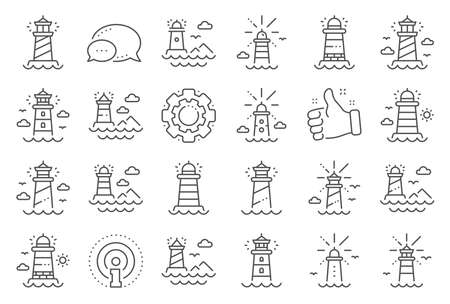 Lighthouse line icons. Searchlight tower with seagull for marine navigation of ships. Sea pharos, lighthouse or beacon icons. Ocean waves, nautical building, marine house.  Line signs set. Vector Illusztráció