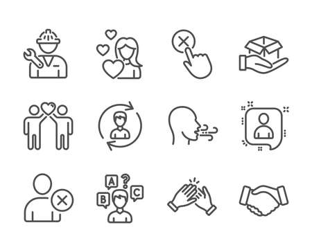 Set of People icons, such as Clapping hands, Hold box, Love, Repairman, Handshake, Human resources, Quiz test, Friends couple, Breathing exercise, Developers chat, Delete user line icons. Vector Фото со стока - 130622251