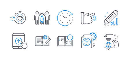 Set of Science icons, such as Partnership, Swipe up, Blood donation, Engineering documentation, Timer, Project deadline, Instruction info, Time change, Edit statistics, Certificate. Vector