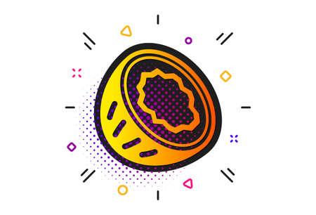 Tasty nut sign. Halftone circles pattern. Coconut icon. Vegan food symbol. Classic flat coconut icon. Vector