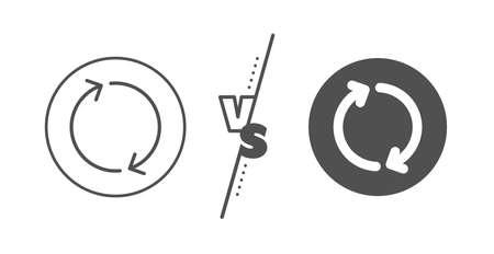 Rotation Arrowhead symbol. Versus concept. Refresh arrow line icon. Navigation pointer sign. Line vs classic refresh icon. Vector 일러스트
