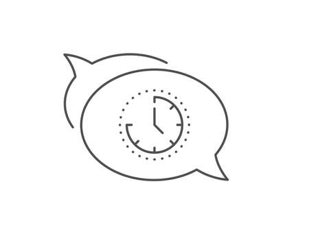 Time management line icon. Chat bubble design. Clock sign. Watch symbol. Outline concept. Thin line time icon. Vector Çizim