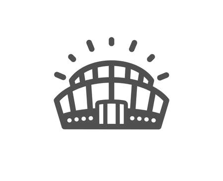 Arena-Zeichen. Sportstadion-Symbol. Symbol des Sportkomplexes. Klassischer flacher Stil. Einfaches Sportstadion-Symbol. Vektor